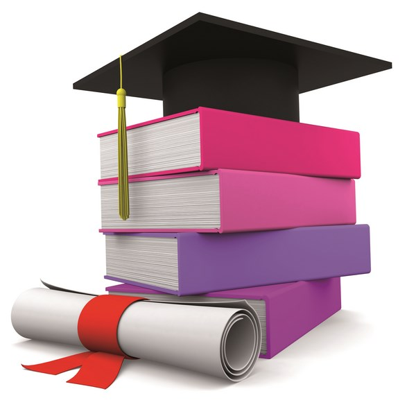 Graduation cup with colorful books and diploma